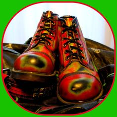 Trippy 90's Dr Martens Thermal Rub Off Cap Toe by RenegadeRevival # Doc Martin Boots
