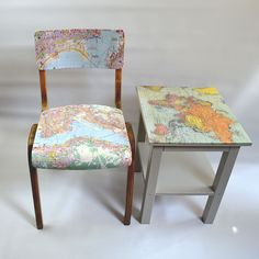 DIY Personalised map chair and table Pillarboxblue.com