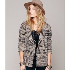 Beautiful blazer/cardigan sweather jacket from Free People, Brand new never worn..says coffee but I think colors are more black and grey