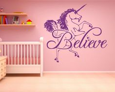 Wall Decal Sticker Bedroom Believe Unicorn Fairytale Horse Cartoon Kids Girls Room Decor 319b. Thank you for visiting our store!!! Please read the whole description about the item. A wall decal, also known as a wall sticker, wall tattoo, or wall vinyl, is a vinyl sticker that is affixed to a wall or other smooth surface for decoration and informational purposes. Wall decals are cut with vinyl cutting machines. Most decals use only one color, but some may have various images printed upon...