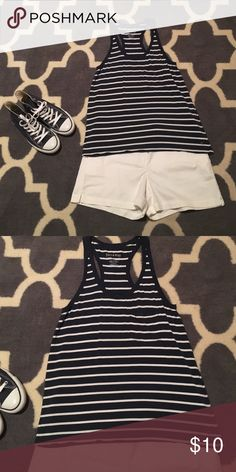 NWOT American Eagle Soft & Sexy Tank Size Med Navy blue and white striped with pocket on front. Racer back. Super soft! Check out my closet to bundle. Shorts listed in separate listing American Eagle Outfitters Tops Tank Tops