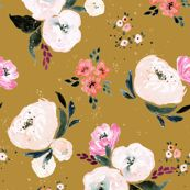 Janice Floral mustard-medium by crystal_walen
