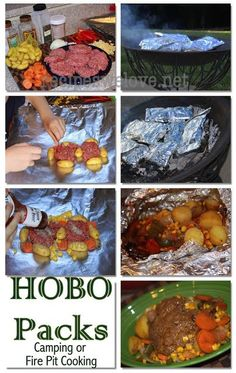 Hobo Packs ( cooking in the fire) great for camping or cooking on a fire pit.. MAKE MEMORIES!!!! KIDS LOVE DOING THIS!!!!