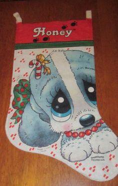 vintage felt christmas stocking giordano HONEY sad sam puppy dog 2 ft. long 80s