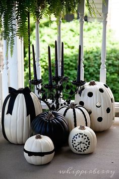 Halloween Crafts: Black & White Halloween Pumpkins - complete tutorial from WhipperBerry