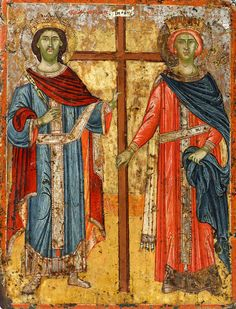 Detailed view: Saints Constantine and Helen- exhibited at the Temple Gallery, specialists in Russian icons Orthodox Catholic, Catholic Art, Byzantine Icons, Byzantine Art, Religious Icons, Religious Art, St Constantine, Religion Catolica, Russian Icons