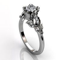 Platinum diamond unusual unique cluster floral engagement ring, bridal ring…