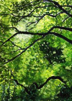 "4x6 print 5x7 botanical art print small ""The Dance of Tree Leaves And Twigs""wall art decor"