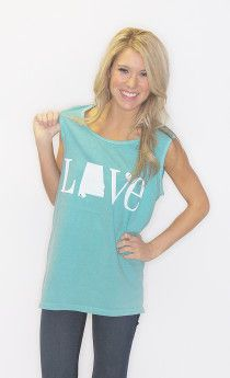 love alabama comfort colors tank $28 on www.shopriffraff.com Exclusive Riffraff Copyrighted Tees. Flaunt your state love in our state love tees!