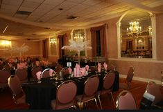 Victoria's Secret themed Sweet 16 decorated venue Sweet 16, Conference Room, Chandelier, Ceiling Lights, Lighting, Table, Victoria, Furniture, Home Decor