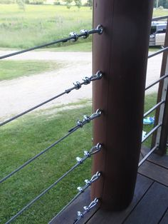 cable railing detail on porch