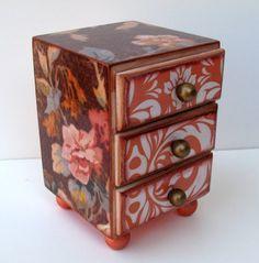 Peaches and Cream Jewelry Box Trinket Box Treasure Chest