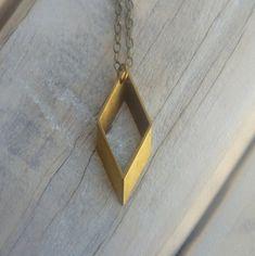 Rhombus Necklace ... Vintage Brass Pendant by SilkPurseSowsEar, £9.00