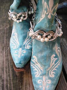 Pearly Girly - Boot Jewelry or  Anklet for your Boots SOLD AS A PAIR