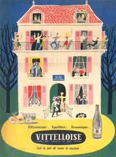 French Vintage Advertising of the 50s, Vittelloise. Vittelloise is a french water brand.