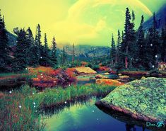 Alien Worlds, Collage Artists, Surreal Art, Digital Collage, Art Day, River, Mountains, Artwork, Nature