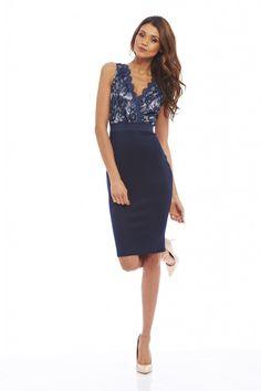 Details about AX Paris Womens Midi Dress Bodycon Blue Floral Short 0f524b880