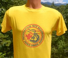 70s vintage t-shirt PEACE GAMES indianapolis by skippyhaha on Etsy
