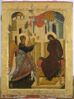 The Annunciation, Russian Icon of St. Part II Byzantine Icons, Byzantine Art, Religious Icons, Religious Art, Tempera, Medieval Paintings, Spiritual Images, Russian Icons, Mosaics