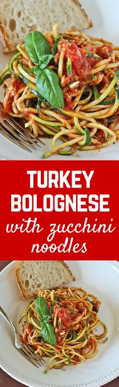 An Italian classic - bolognese - made MUCH lighter with ground turkey and zucchini noodles. You can eat this hearty meal of turkey bolognese with zucchini noodles with no guilt at all!