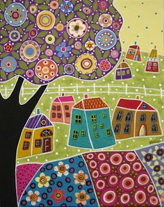 Houses Blooms and a Tree Collage Painting by Karla G