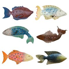 Coastal fish sculptures handmade by Chase Allen at Iron Fish Art on Daufuskie Island, SC.