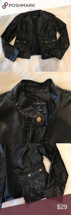 Bagatelle Faux Black Leather Jacket Size Medium Why spend ridiculous money on a real leather jacket when you can get an awesome quality faux leather jacket?? Great deal on a great quality Bagatelle faux leather jacket. Size Medium. No trades 😊 Bagatelle Jackets & Coats