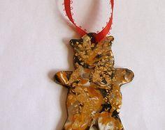 Gold Teddy Bear Ornament Christmas Tree Decoration Polymer Clay Hand Made