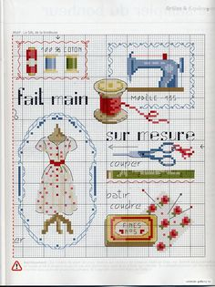 Sewing room cross stitch