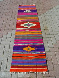 Turkish Kilim Hand Woven Rug Runner Carpet  24,5 X 102,5  INCHES - 63  X 260 CM. $155.00, via Etsy.