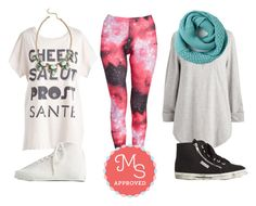 """Fresh Take Leggings in Pink Universe"" by modcloth ❤ liked on Polyvore featuring Superga, Startas, comfy, modcloth and modstylist"