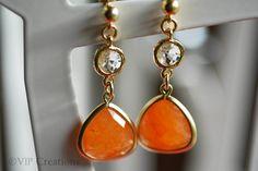 Orange teardrop earrings matte gold glass autumn by VIPCreations