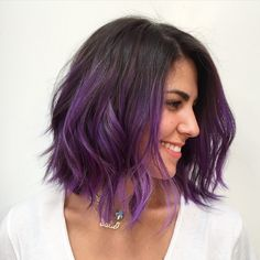20 Balayage Ombre Short Haircuts , Who does not like balayage ombre short haircuts? Here are 20 Balayage Ombre Short Haircuts. Balayage hair is one of many. Dark Purple Hair Color, Ombre Hair Color, Purple Bob, Hair Colour, Short Purple Hair, Short Dip Dye Hair, Purple Style, Purple Hair Tips, Dip Dye Bob
