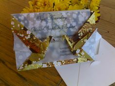 10 Double Sided Crane Origami Card -Japanese Chiyogami Yuzen Paper - Gold Blossom - Wedding İnvitation - Greeting Card
