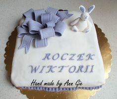 Cake with fondant ribbon and bunny