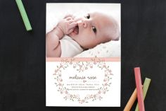 Heart Floral Frame Birth Announcements by Gakemi Art+Design at minted.com