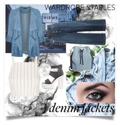"""""""denim look"""" by alessiaport ❤ liked on Polyvore featuring Evans, Topshop, INC International Concepts, RED Valentino, denimjackets and WardrobeStaples"""