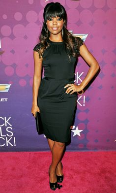Gabrielle Union. love the bangs. the dress. everything