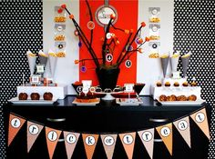 love the orange and polka dot background, wrapping paper or fabric?, use the potted tree idea again and make a sign that says Happy Birthday.