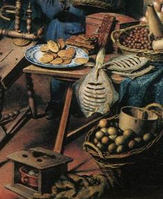 "1728. Detail of ""The Spinner"" by Willem van Mieris. A wooden box, a small jug, 2 baskets, a blue & white platter, a footwarmer."