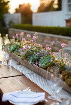 Succulent Centerpieces. I want to make a succulent centerpiece for an outdoor dining area so badly :')