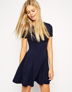 Asos Skater Dress with Seam Detail and Short Sleeves - Navy on shopstyle.co.uk