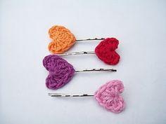 crochet hearts hair clips