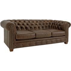 Hancock Tufted Distressed Brown Italian Leather Sofa   Overstock.com Shopping - The Best Deals on Sofas & Loveseats