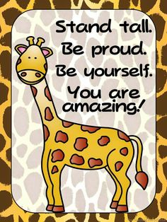 FREEBIE - Zoo Animals Giraffe Positive Quote Poster {Jungle Safari Theme} Inspire your students with this giraffe poster. Check my store to compl. Jungle Theme Classroom, Toddler Classroom, Preschool Classroom, Safari Theme, Jungle Safari, Jungle Room, Classroom Posters, Classroom Themes, Poster S