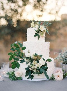 Textured floral topped wedding cake: http://www.stylemepretty.com/2016/01/04/intimate-sunstone-vineyards-wedding/ | Photography: Jose Villa - http://josevilla.com/