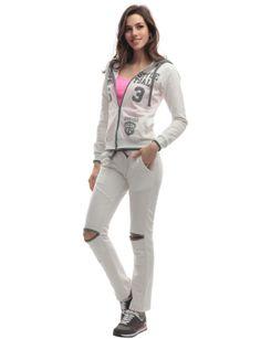 Doublju Womens Hood Sweatshirt & Pants Set with Big Letters