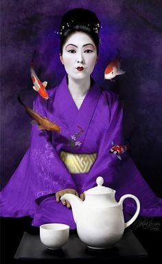 超现实:西班牙设计师 by Laura Racero, Art Director and Photoillustrator Purple Love, All Things Purple, Purple Rain, Shades Of Purple, Koi, Turning Japanese, Lavender Blue, Tea Ceremony, Japan Fashion
