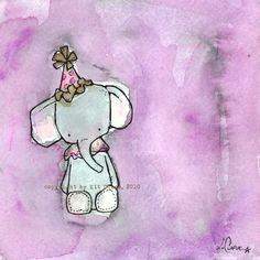 Esmerelda the Toy Elephant  an 8x8 Childrens Art Print from the Circus Troupe collection. $17.00, via Etsy.