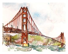 San Francisco Golden Gate Bridge, en Californie, imprimer à partir d'un croquis aquarelle en orange rouille  Une des vues plus spectaculaires de la Golden Gate Bridge à San Francisco est de Point Fort. Vous pouvez obtenir une vue « classique » dramatique comme je le faisais pour ce croquis, ou vous rapprocher et être littéralement chercher le pont sous elle. J'adore l'insaisissable  est-it-orange ? rouille est-ce ? couleur orange-rouge ou ?? » du pont et comment il se distingue brillamment…